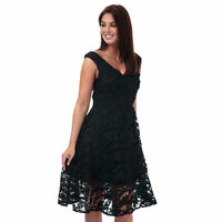 Womens French Connection Blossom Lace Bardot Dress In Black