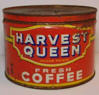 Vtg 1950s RED OWL HARVEST QUEEN COFFEE TIN KEYWIND 1 POUND MINNEAPOLIS MINNESOTA