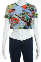 Mary Katrantzou Multi-Color Floral Pritned Lynx Crop Top Size 8 New 120109