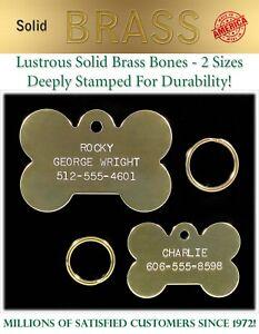 Large Solid Brass Bone Dog Pet ID Name Tags-Custom Identification Tag FREE Ship!