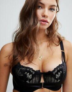 Ann Summer Evangelique Black & Shell Plunge bra Size 40H EU90I Free Post NWT
