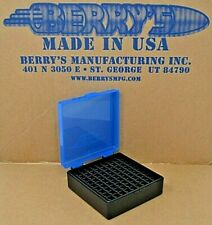 38 / 357 Berry Ammo Boxes 100 Round Storage & Reloading (Blue / Black) Brand New