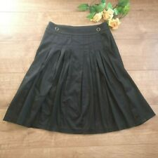 Laura Ashley black knee length skirt size 8 fully lined pleated front button