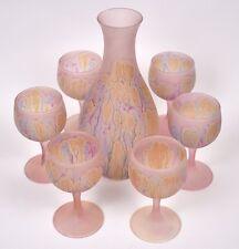 Reuven / Hebron Glass Hand Blown Pale Rose Pink Wine Decanter & 6 Goblets