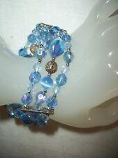 3 ROW MOONSTONE FILIGREE AB BLUE FACETED GLASS BEAD RHINESTONE STRETCH BRACELET