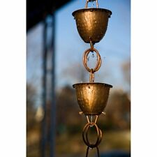 Monarch 8.5 ft. Copper Hammered Cup with Ring Rain Chain, 1