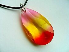 Lovely Large Rainbow Faceted Glass  Pendant with  Necklace