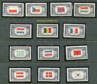 1943 #909-921 FLAGS WWII NAZI Overrun Nations COMPL SET(13) VF MNHOG