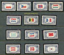 1943 #909-921 FLAGS WWII NAZI Overrun Nations COMPL SET(13) VF MNHOG