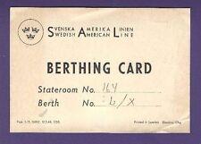 Berthing Card - Swedish American Line