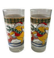 Set Of 2 Vintage Anchor Hocking Winnie The Pooh & Piglet Drinking Glasses Winter