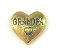 Floating Charms Mini Charm Living Memory Locket Pendant Hearts Gold Grandpa 9mm