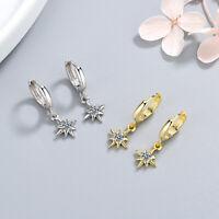925 Sterling Silver Hoop Huggie Earrings Crystal Star Dangle Women Jewelry