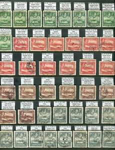 Antigua KGVI 1938-51 SG98/109 used study of printings and shades (3 scans)