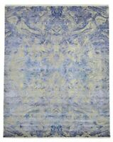 8x10 Handknotted Modern Art Artificial Silk/Wool Rug Ivory/Blue/Beige/Gray Color