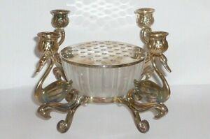Vecchio D'Argento Supporto Candela Candeliere Non Argento Vaso Fiori