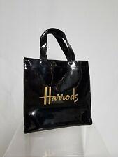 Harrods Bolso Pequeño Bolso Negro Patente logotipo dorado