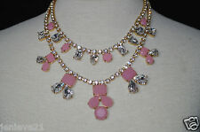 NEW KATE SPADE Necklace Secret Garden Double Chain Gold Pink Rhinestones $228