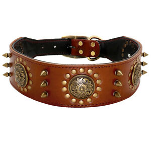 Soft Genuine Leather Pet Dog Wide Collar Heavy Duty Studded for Large Dogs Brown