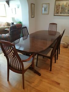 SKOVBY Danish dining table and six chairs