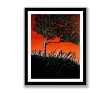 Tree at Sunset-Impressionist art Acrylic painting unique gift (Print) ID : 1565