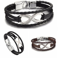 Infinity Armbänder Hand geflochtene Charms Leder Seil Armreifen Armband FrauXM