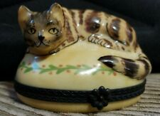 Limoges Tabby Cat Yellow House Large Trinket Box
