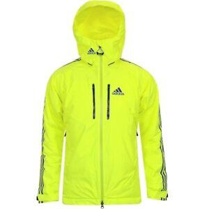 Adidas Athletic Padded Jacket Men's Ski Winter Parka Neon Yellow/Green