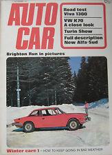 Autocar 11/11/1971 featuring Vauxhall Viva road test, VW K70, Alfa Romeo Alfasud