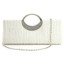 Woman's evening bag elegant diamond satin handbag new white R3W3