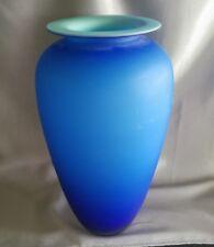 Cobalt Blue/Turquoise Satin Italian Art Glass 11' Tall vase 2 tone