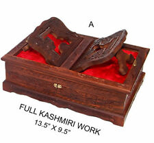 Wooden Holy Books Stand, Rehal Box with Kashmiri Work, Quran Bible Holder & BOX