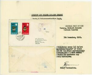 GILBERT + ELLICE 1966 POST OFFICE LETTER + WATERLOGGED MAIL re CANOE to EASTGATE