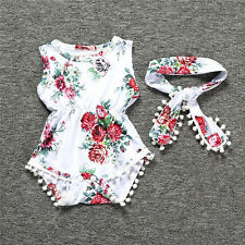 Infant Newborn Baby Girl Floral Romper Jumpsuit Sunsuit+Headband Clothes Outfits