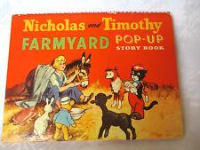 vintage POP-UP story book NICHOLAS AND TIMOTHY FARMYARD  c1954
