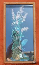 Vintage 1970s Kingfisher Picture Bamboo Frame Black Background Boho Tiki Kitsch