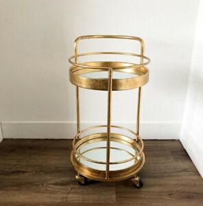 Antique Gold Leaf Metal Small Round Drinks/Bar Trolley