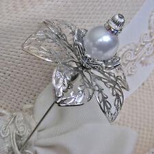 Splendid Hatpin With Faux Pearl On Silver Finish Flower & Rhinestones