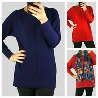 Ex M & Co Womens Ladies Navy Red Crew Neck Batwing Front Seam Jumper Knit