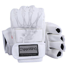 Leather MMA UFC Grappling Gloves Fight Boxing Muay Thai Ultimate Mitts Sparring White 702658130145