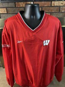 Vintage Reebok Wisconsin Badgers NCAA Football Jacket Mens XXL Madison Bucky Red