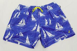 Nautica Men's Big & Tall 8-Inch Boat Printed Swim Shorts DB8 Blue Size 2XL NWT