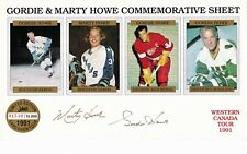 AUTO SIGNED GORDIE HOWE & MARK COMMEMORATIVE SHEET RED WINGS WHALERS AEROS NRMT