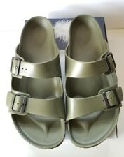 Birkenstock Arizona Army Green Leather Slide Sandals Mens Size 13 Eu 46