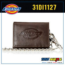 Dickies Men Leather Trifold Chain Wallet 31DI1127 Motorcycle Trucker Biker BROWN