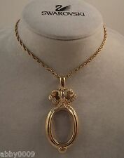 Signed Swan Swarovski Oval Lorgnette with Pave' Ribbon Necklace