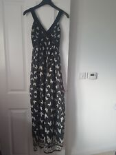 YUMI MONOCHROME BLACK WHITE SHEER SELF SPOT BUTTERFLY PRINT FLOATY MAXI DRESS S