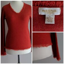 Peck And Peck Orange Cashmere Jumper Size Large/8/10 Fringe Hem V Neck