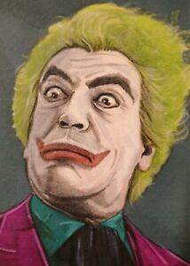 Original Aceo art sketch card The Joker Ceasar Romero Batman and Robin 1966 Ink