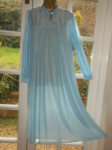 Vintage 1970s Baby Blue Silky Sheer Nylon Lacy Nightdress Negligee Gown 38""